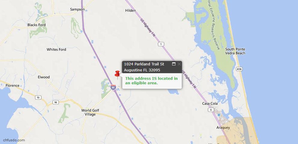 USDA Loan Eligiblity Map - 1024 Parkland Trl, St Augustine, FL 32095