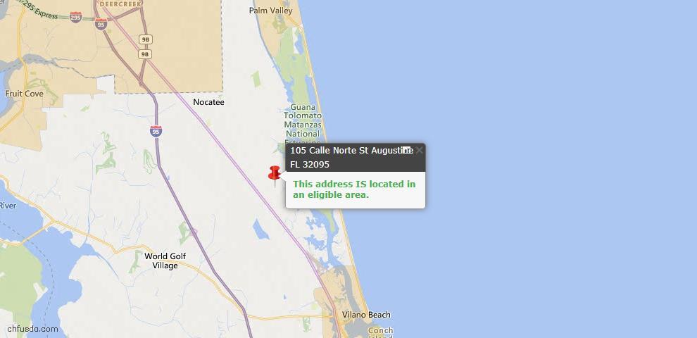 USDA Loan Eligiblity Map - 105 Calle Norte, St Augustine, FL 32095
