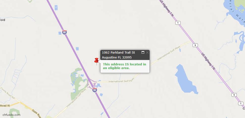 USDA Loan Eligiblity Map - 1062 Parkland Trl, St Augustine, FL 32095