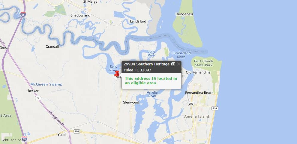 USDA Loan Eligiblity Map - 29904 Southern Heritage Pl, Yulee, FL 32097