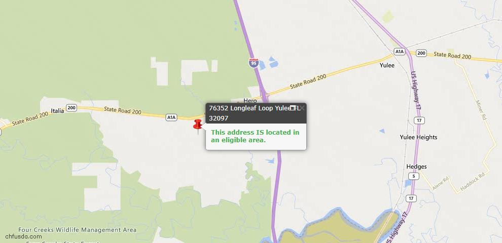 USDA Loan Eligiblity Map - 76352 Long Leaf Loop, Yulee, FL 32097