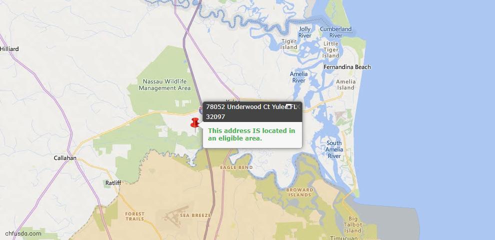 USDA Loan Eligiblity Map - 78052 Underwood Ct, Yulee, FL 32097
