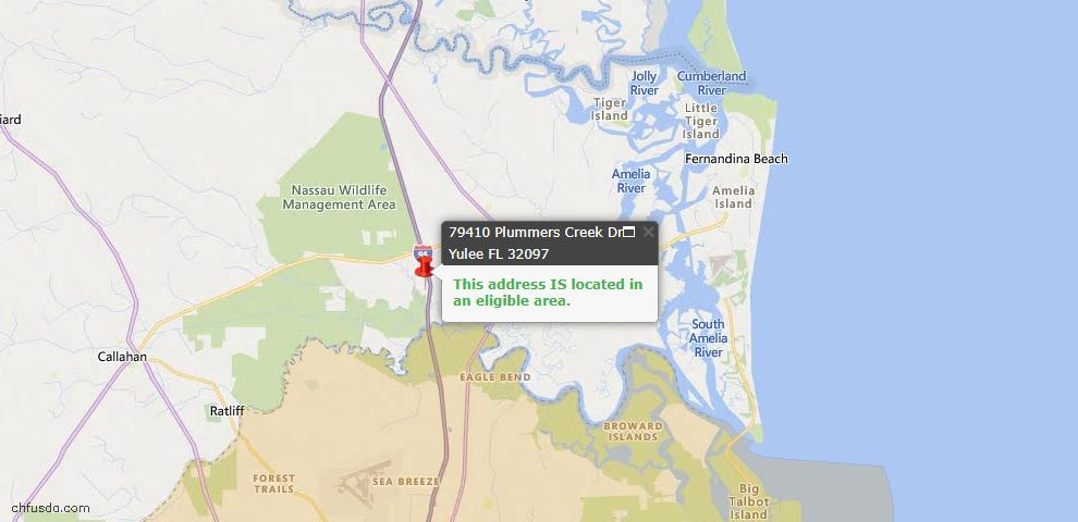 USDA Loan Eligiblity Map - 79410 Plummers Creek Dr, Yulee, FL 32097