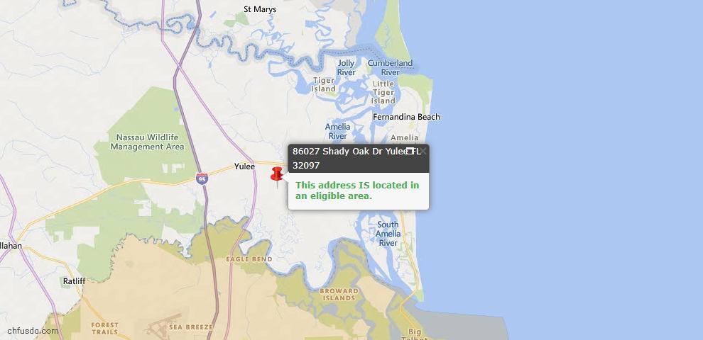 USDA Loan Eligiblity Map - 86027 Shady Oak Dr, Yulee, FL 32097