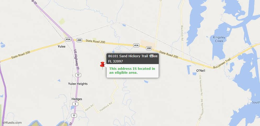 USDA Loan Eligiblity Map - 86101 Sand Hickory Trl, Yulee, FL 32097