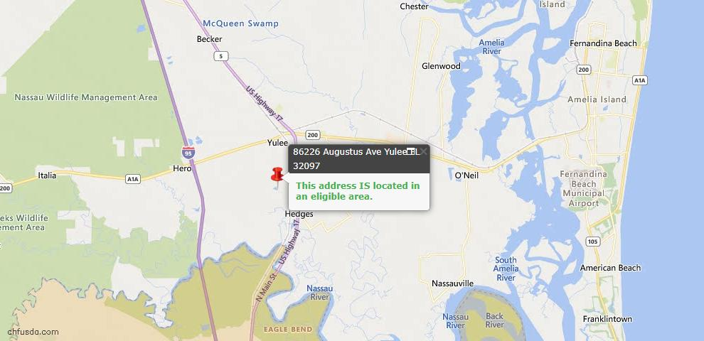 USDA Loan Eligiblity Map - 86226 Augustus Ave, Yulee, FL 32097