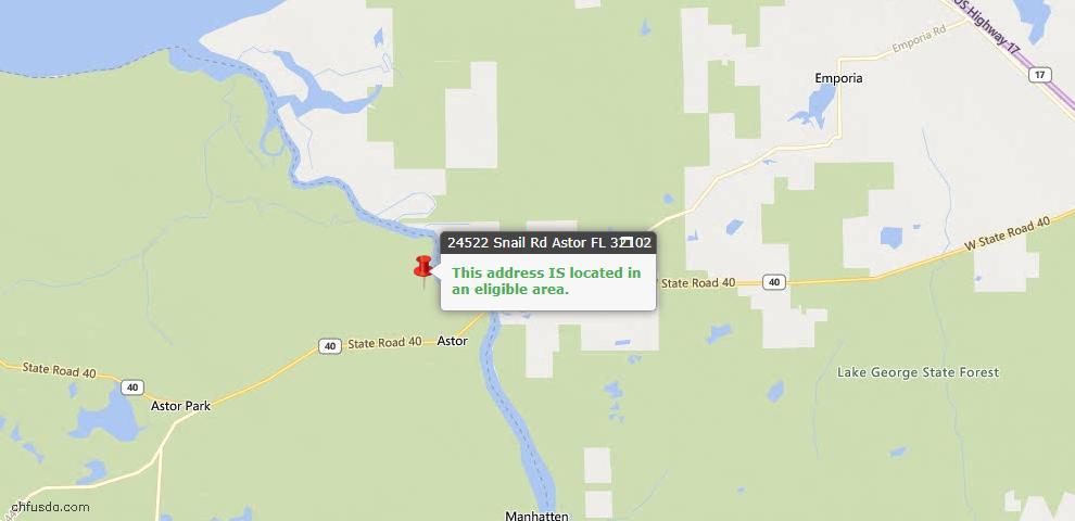 USDA Loan Eligiblity Maps From - Astor, FL