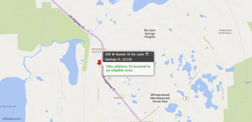 USDA Loan Eligiblity Maps From - Deleon Springs, FL