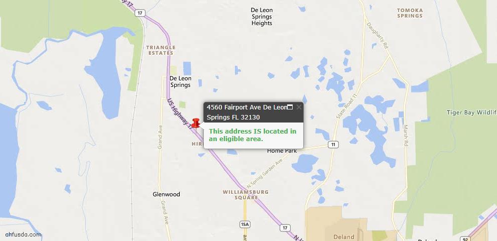 USDA Loan Eligiblity Maps From - De Leon Springs, FL