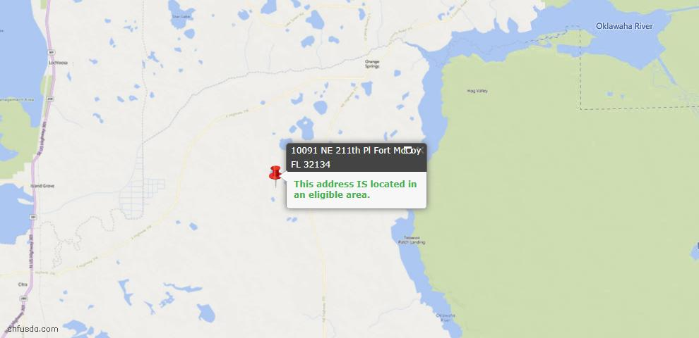USDA Loan Eligiblity Map - 10091 NE 211 Pl, Fort Mc Coy, FL 32134