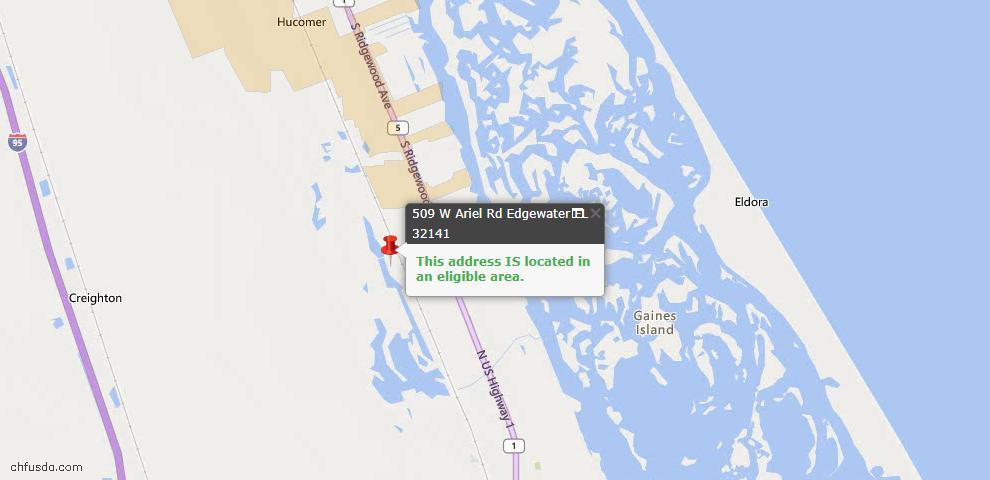 USDA Loan Eligiblity Maps From - Edgewater, FL