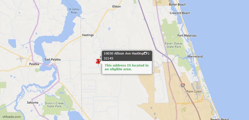 USDA Loan Eligiblity Map - 10030 Allison Ave, Hastings, FL 32145