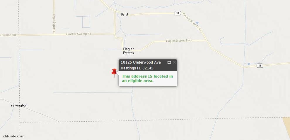 USDA Loan Eligiblity Map - 10125 Underwood Ave, Hastings, FL 32145