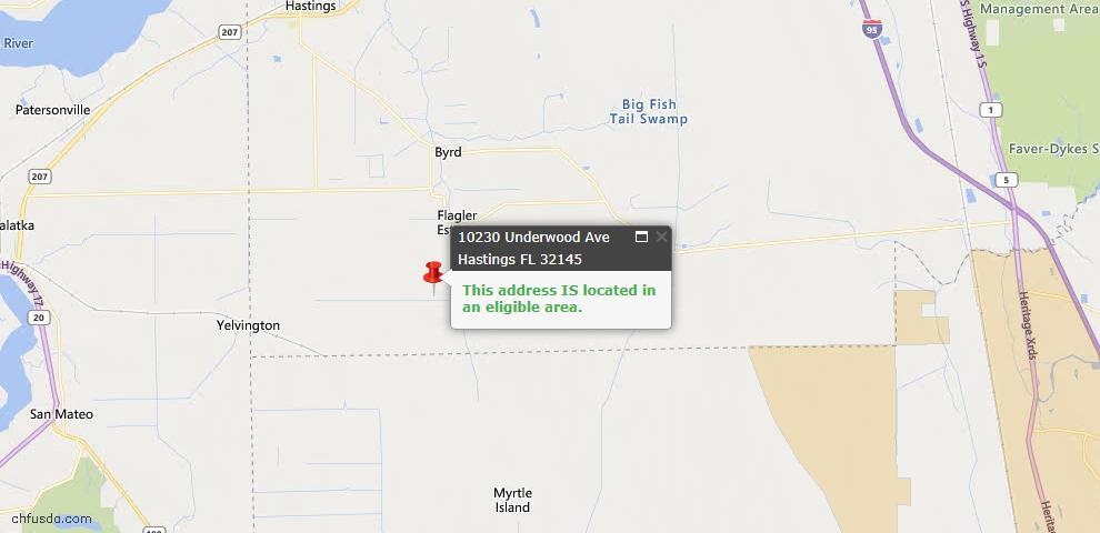 USDA Loan Eligiblity Map - 10230 Underwood Ave, Hastings, FL 32145