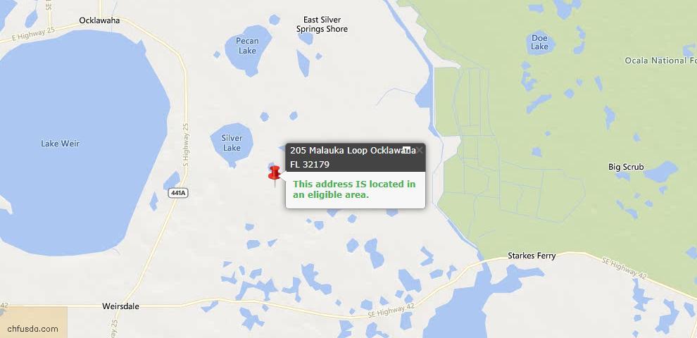 USDA Loan Eligiblity Maps From - Ocklawaha, FL