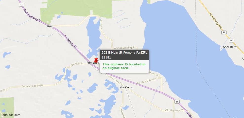 USDA Loan Eligiblity Maps From - Pomona Park, FL