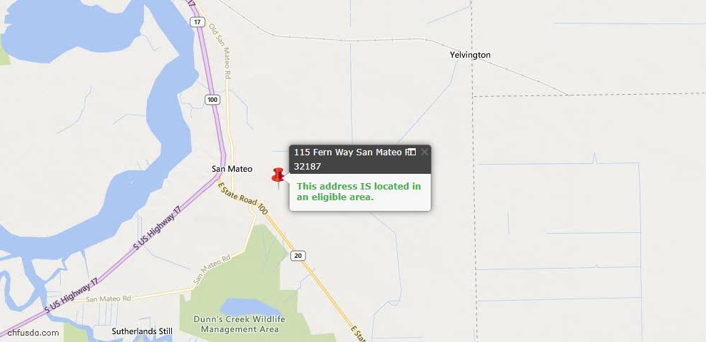 USDA Loan Eligiblity Maps From - San Mateo, FL