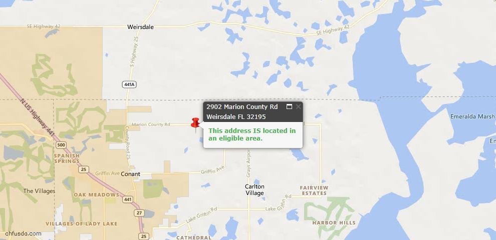 USDA Loan Eligiblity Maps From - Weirsdale, FL