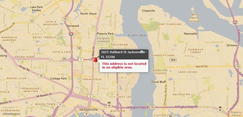 USDA Loan Eligiblity Maps From - Jacksonville, FL