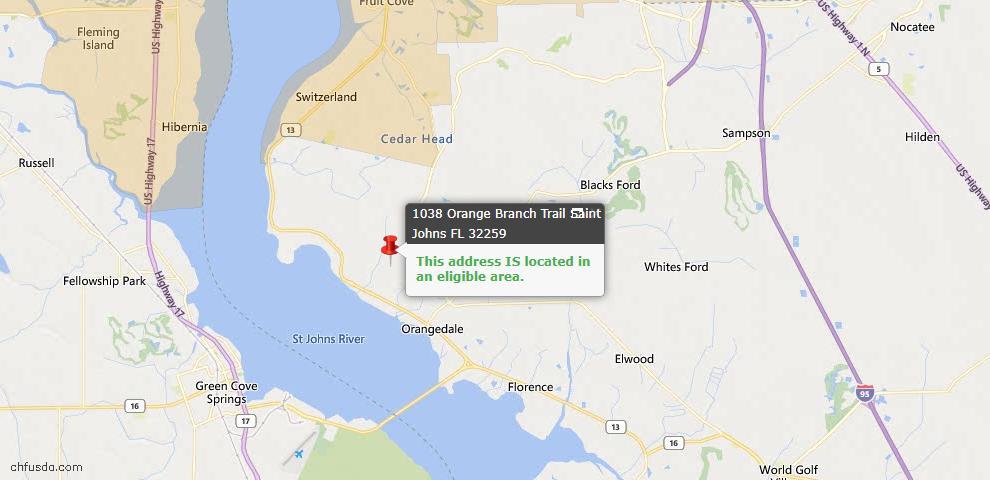 USDA Loan Eligiblity Map - 1038 Orange Branch Trl, St Johns, FL 32259