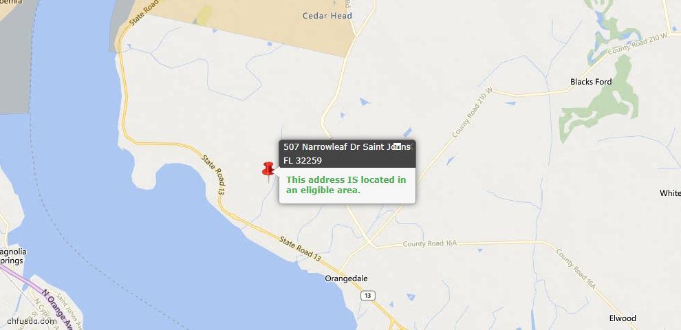 USDA Loan Eligiblity Maps From - St Johns, FL