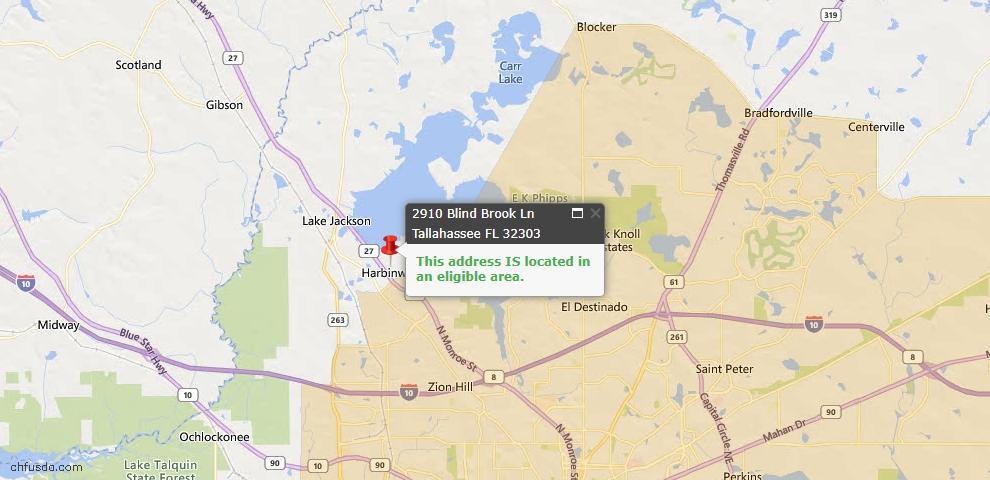 USDA Loan Eligiblity Map - 2910 Blind Brook Ln, Tallahassee, FL 32303