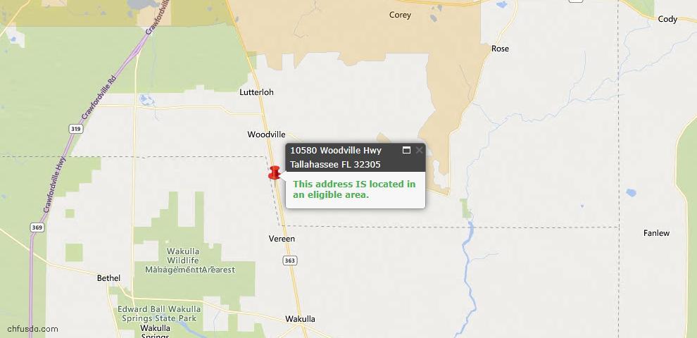 USDA Loan Eligiblity Map - 10580 Woodville Hwy, Tallahassee, FL 32305