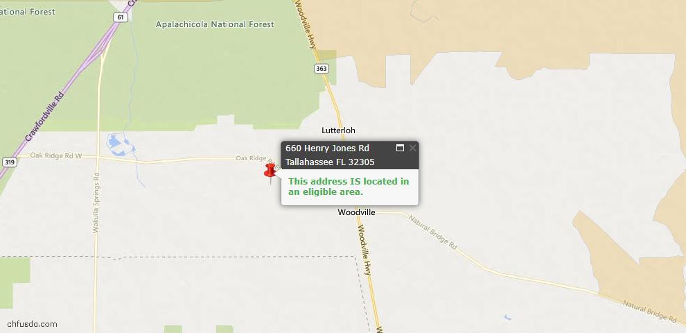 USDA Loan Eligiblity Map - 660 Henry Jones Rd, Tallahassee, FL 32305