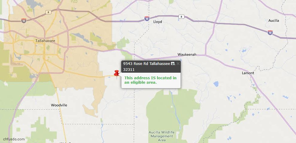 USDA Loan Eligiblity Map - 9543 Rose Rd, Tallahassee, FL 32311
