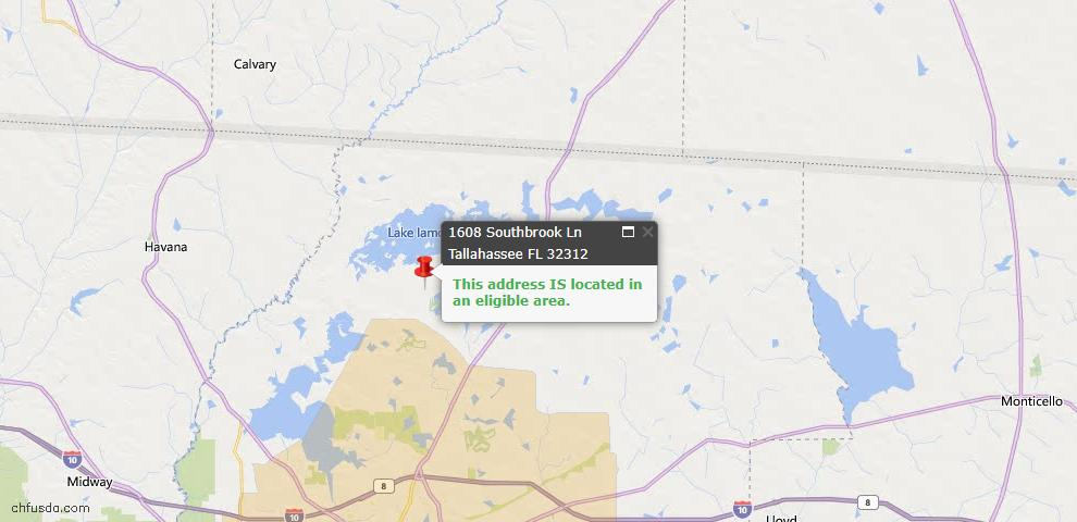 USDA Loan Eligiblity Map - 1608 Southbrook Ln, Tallahassee, FL 32312