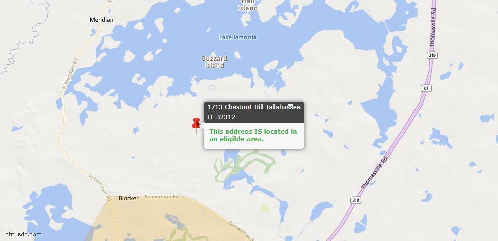 USDA Loan Eligiblity Map - 1713 Chestnut Hl, Tallahassee, FL 32312