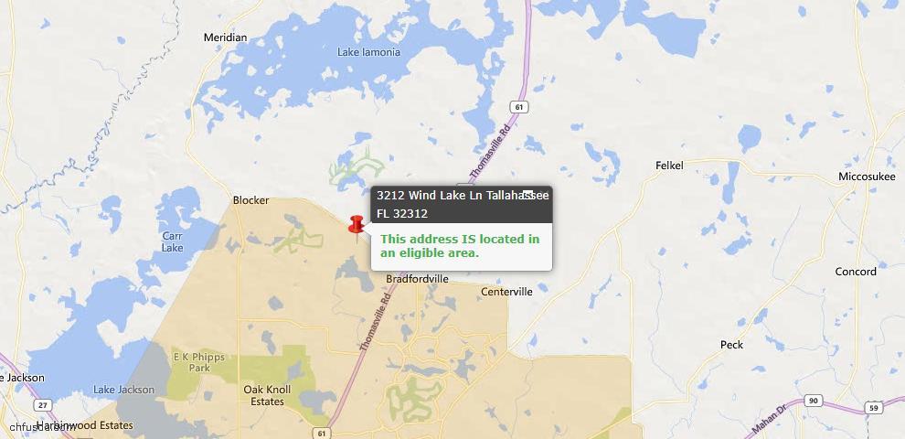 USDA Loan Eligiblity Map - 3212 Wind Lake Ln, Tallahassee, FL 32312
