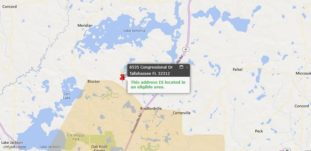 USDA Loan Eligiblity Map - 8535 Congressional Dr, Tallahassee, FL 32312