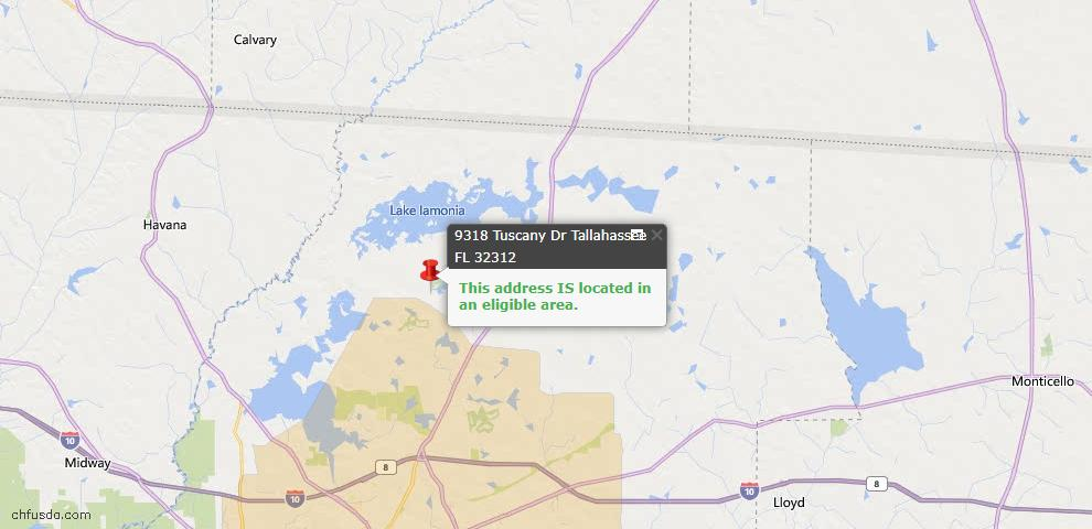 USDA Loan Eligiblity Map - 9318 Tuscany Dr, Tallahassee, FL 32312