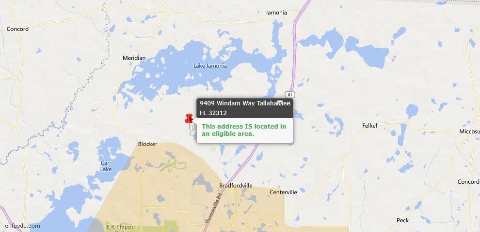 USDA Loan Eligiblity Map - 9409 Windam Way, Tallahassee, FL 32312