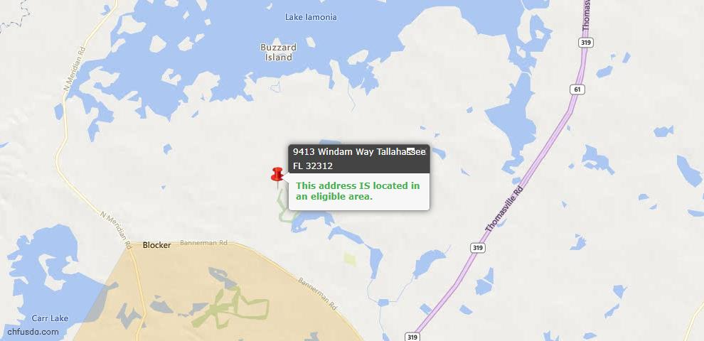 USDA Loan Eligiblity Map - 9413 Windam Way, Tallahassee, FL 32312