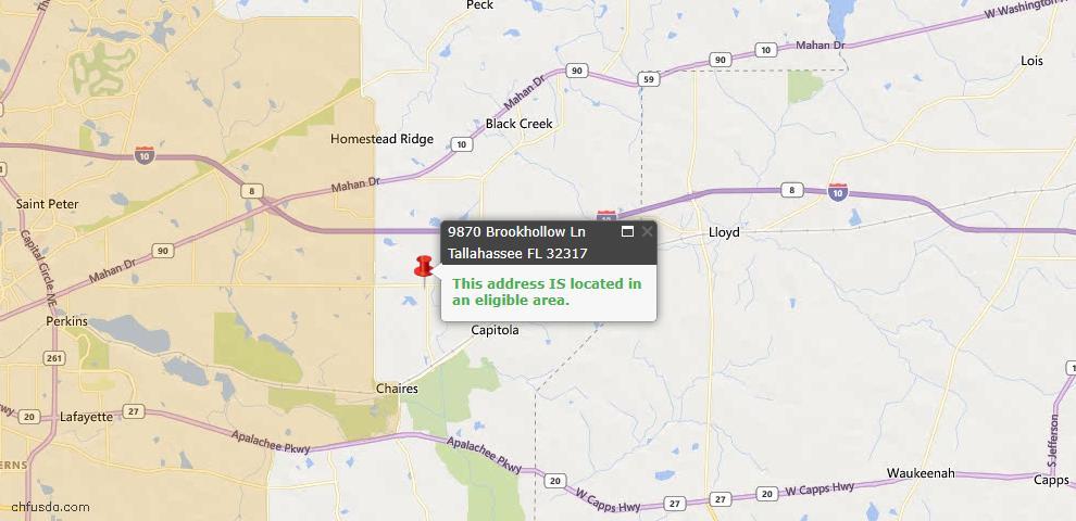 USDA Loan Eligiblity Map - 9870 Brookhollow Ln, Tallahassee, FL 32317