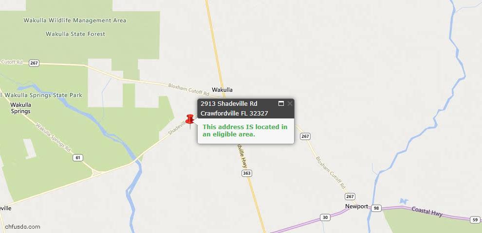 USDA Loan Eligiblity Maps From - Crawfordville, FL