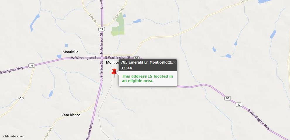 USDA Loan Eligiblity Maps From - Monticello, FL