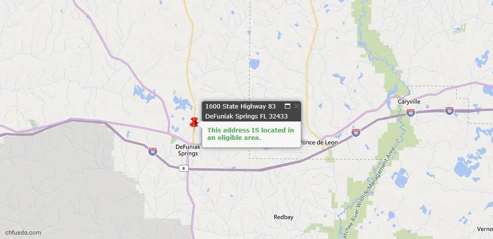 USDA Loan Eligiblity Map - 1600 State Hwy 83 North, Defuniak Springs, FL 32433