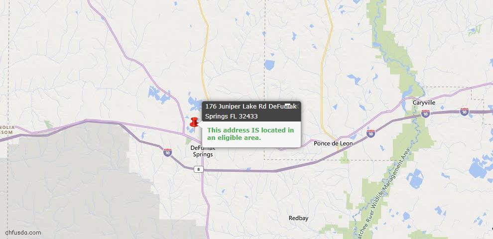 USDA Loan Eligiblity Map - 176 Juniper Lake Rd, Defuniak Springs, FL 32433