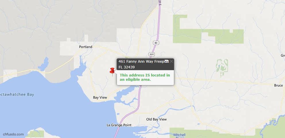 USDA Loan Eligiblity Map - 461 Fanny Ann Way, Freeport, FL 32439