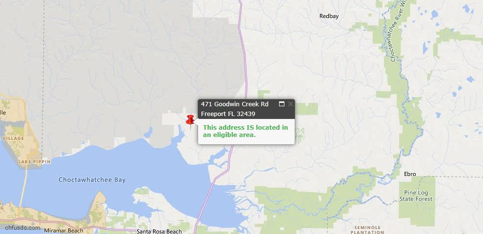 USDA Loan Eligiblity Map - 471 Goodwin Creek Rd, Freeport, FL 32439
