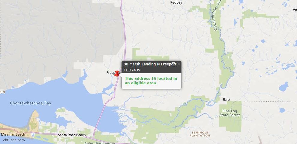 USDA Loan Eligiblity Map - 88 N Marsh Lndg, Freeport, FL 32439