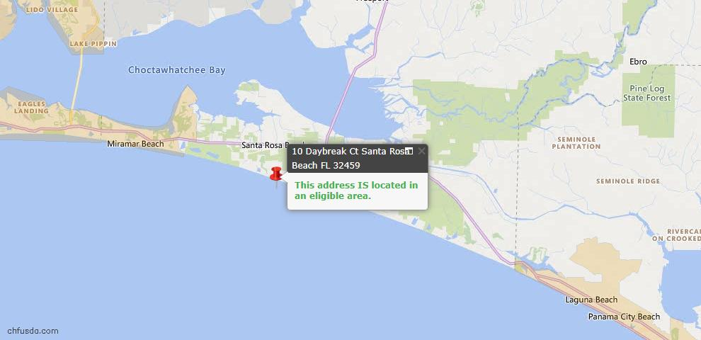 USDA Loan Eligiblity Map - 10 Daybreak Ct, Santa Rosa Beach, FL 32459