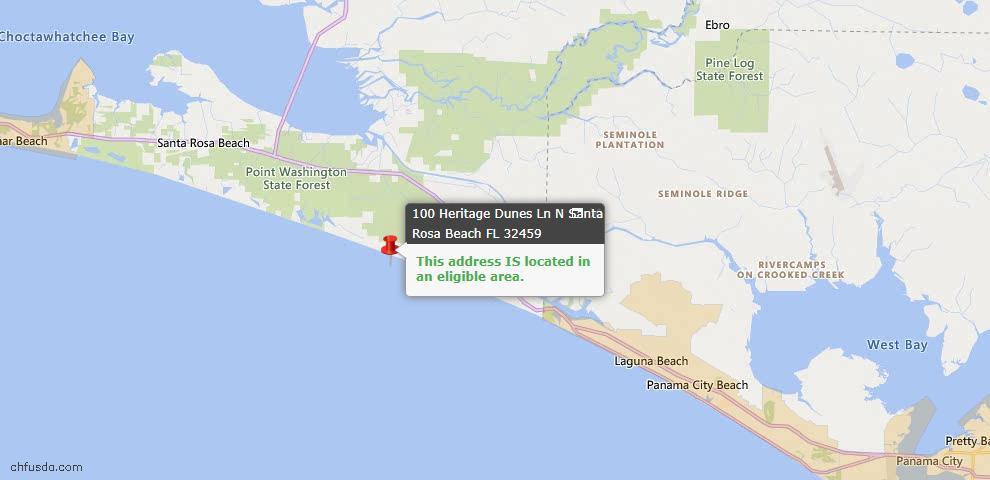 USDA Loan Eligiblity Map - 100 N Heritage Dunes Ln, Santa Rosa Beach, FL 32459