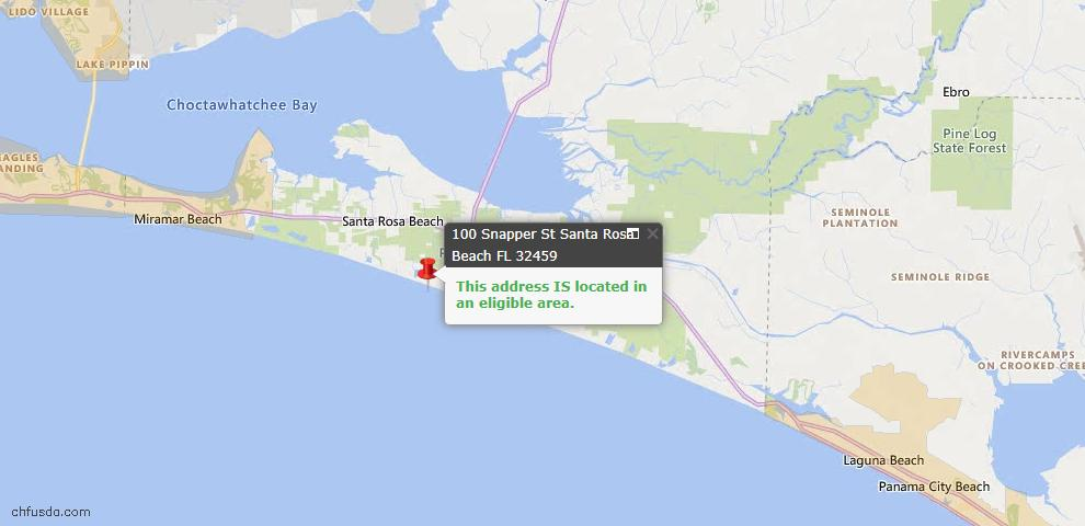 USDA Loan Eligiblity Map - 100 Snapper St, Santa Rosa Beach, FL 32459