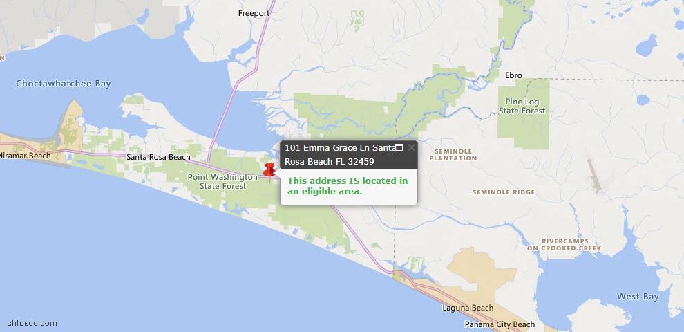 USDA Loan Eligiblity Map - 101 Emma Grace Ln, Santa Rosa Beach, FL 32459