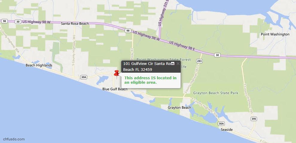 USDA Loan Eligiblity Map - 101 Gulfview Cir, Santa Rosa Beach, FL 32459