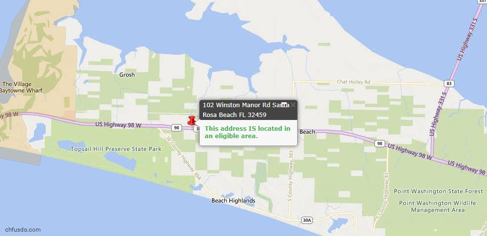 USDA Loan Eligiblity Map - 102 Winston Manor Rd, Santa Rosa Beach, FL 32459